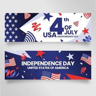 Detalhado 4 de julho - conjunto de banners do dia da independência