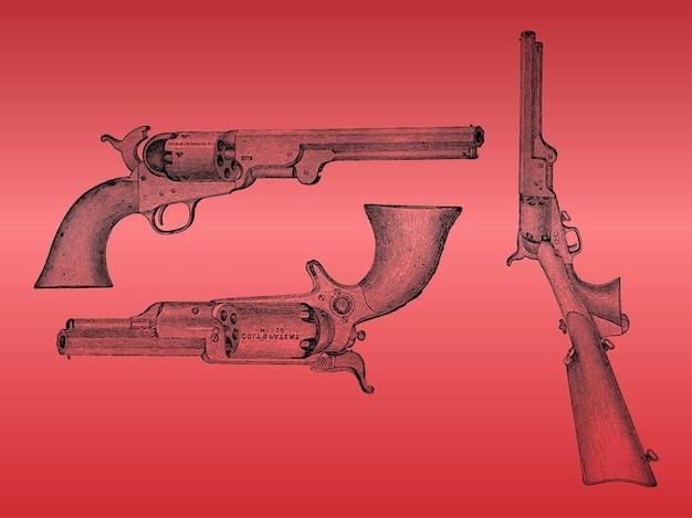 Detalhado desenhado mão do vintage armas vector