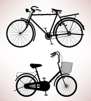 Detalhe de bicicleta velha. desenho de 2 bicicletas antigas.