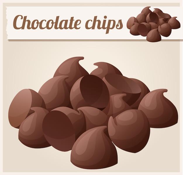 Detalhe de gotas de chocolate meio amargo