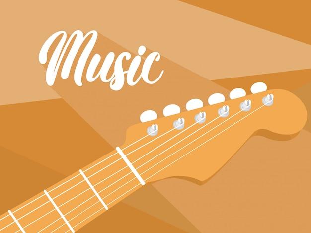 Detalhe, de, violão acústico, fundo