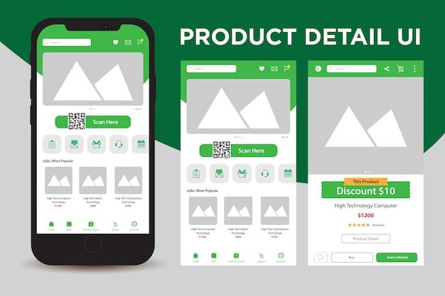 Detalhes do produto interface do usuário