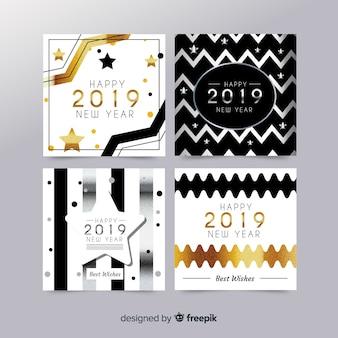 Detalhes dourados coleção de cartões de festa de ano novo