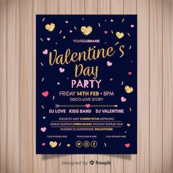 Detalhes dourados poster do partido do dia dos namorados