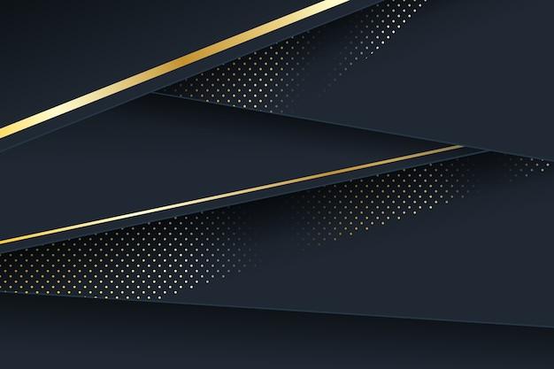 Detalhes dourados sobre fundo de camadas de papel escuro