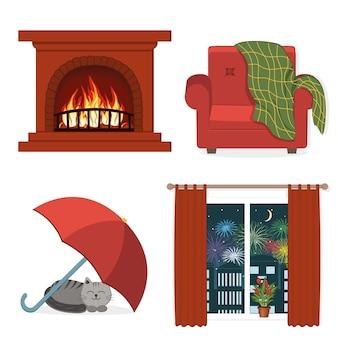 Detalhes internos para maior conforto na casa, ilustração vetorial colorida