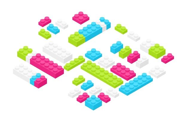 Detalhes isométricos de construção de plástico colorido