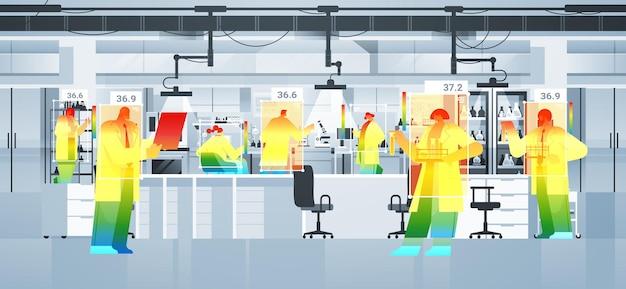 Detecção de temperatura corporal elevada de cientistas em laboratório verificando por câmera ai térmica sem contato parar conceito de surto de coronavírus ilustração vetorial horizontal