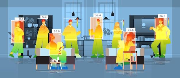 Detecção de temperatura corporal elevada de empresários no escritório, verificando por câmera ai térmica sem contato para parar o coronavírus
