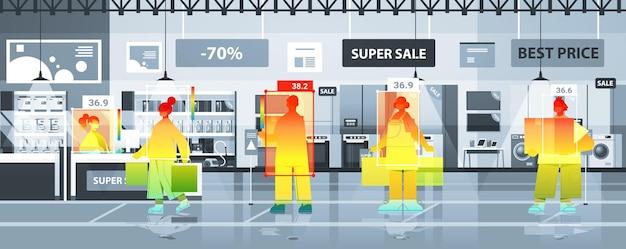 Detecção de temperatura corporal elevada de empresários no mercado verificação por câmera ai térmica sem contato parar conceito de surto de coronavírus ilustração vetorial horizontal