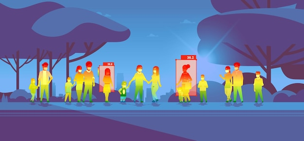 Detecção de temperatura corporal elevada de pessoas caminhando no parque verificando por câmera ai térmica sem contato parar conceito de surto de coronavírus ilustração vetorial horizontal