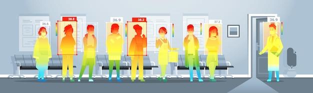 Detecção de temperatura corporal elevada de pessoas no hospital, verificando por câmera ai térmica sem contato para parar o coronavírus