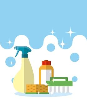 Detergente e escova de limpeza com esponja