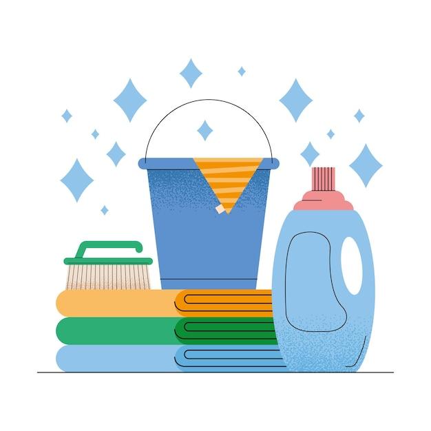 Detergente e ícones domésticos