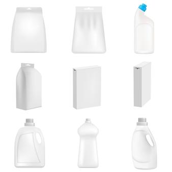 Detergente garrafa limpeza pó lavagem maquete definido. ilustração realista de 9 mamadeiras de detergente em pó limpeza maquiagens para web