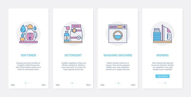 Detergentes domésticos, equipamento de lavagem em ux de lavanderia, conjunto de tela de página de aplicativo móvel ui
