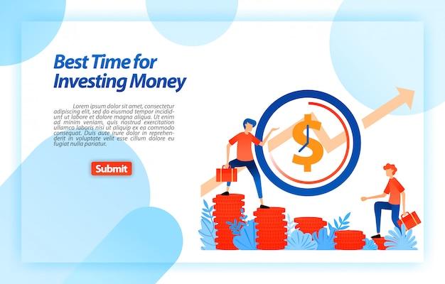 Determine o melhor momento para escolher um investimento. oportunidade no momento certo para definir uma estratégia de negócios. modelo da web da página de destino