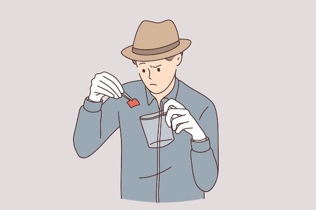 Detetive com conceito de trabalho de evidências