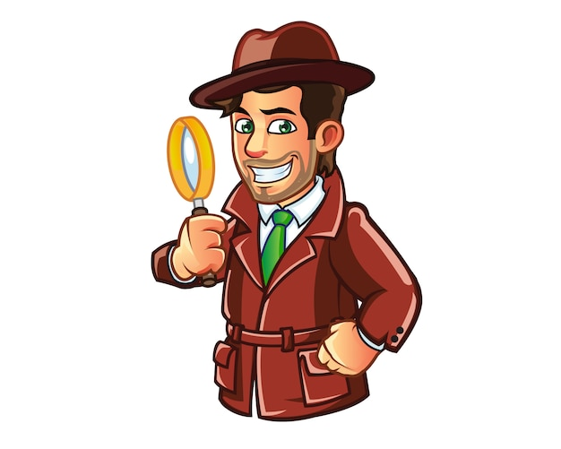 Detetive, investigar, criminal, segurando, magnificar, vidro