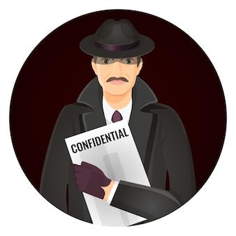 Detetive particular misterioso com documentos confidenciais nas mãos. homem de chapéu e casaco ilustração em círculo.