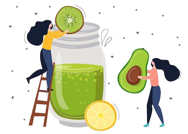 Detox smoothie com avacado kiwi e limão. pequeno vetor pessoas fazem um coquetel de bem-estar. ilustração de estilo plano e desenho à mão