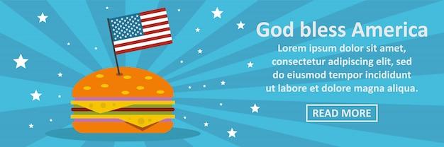 Deus abençoe o conceito horizontal de modelo de banner américa