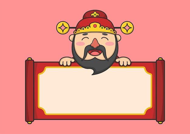 Deus da fortuna do ano novo chinês com pergaminho