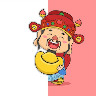 Deus da fortuna fofo do ano novo chinês segurando dinheiro escondido