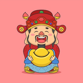 Deus da fortuna fofo do ano novo chinês segurando dinheiro