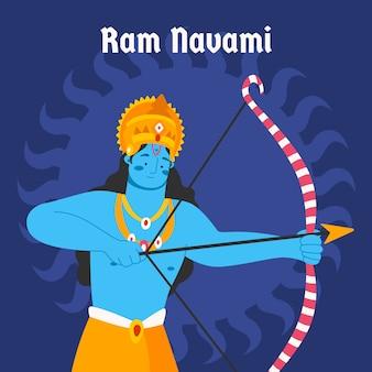 Deus de navami de ram design plano ilustrado