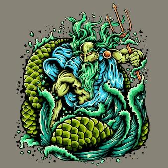 Deus do oceano tatuagem