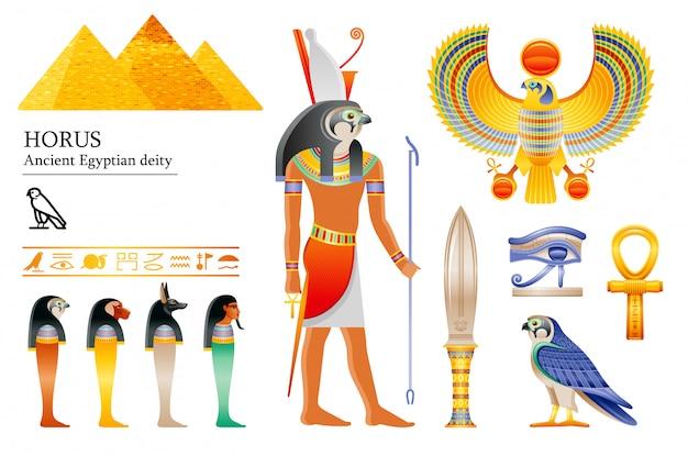 Deus egípcio antigo conjunto de ícones de hórus. divindade do falcão, pirâmide, punhal, pássaro, ankh, quatro filhos de hórus, potes canópicos, hieróglifo.