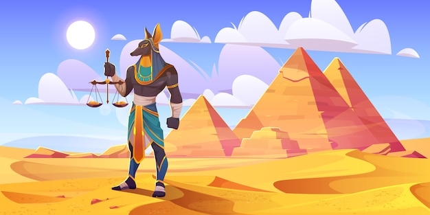 Deus egípcio de anúbis, divindade do egito antigo com corpo humano e cabeça de chacal, vestindo roupas reais de faraó real segurando balanças com moedas de ouro fica no deserto com pirâmides, ilustração em vetor dos desenhos animados