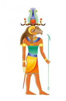 Deus egípcio de khnum, divindade da fonte do nilo, deus com cabeça de ovelha. ilustração de deus egípcia antiga.