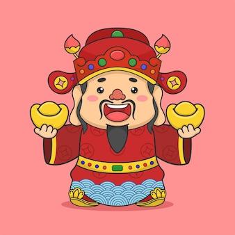 Deus fofo da fortuna chinesa segurando duas moedas