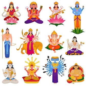 Deus indiano hindu de vetor de deusa personagem e hinduísmo ídolo divino ganesha no conjunto de ilustração índia de religião divina asiática