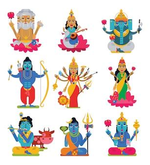 Deus indiano hindu vector de deusa personagem e hinduísmo ídolo divino ganesha no conjunto de ilustração índia de religião divina asiática isolado