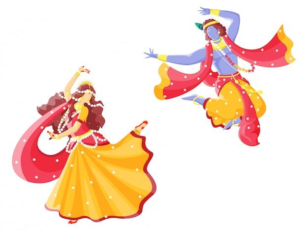 Deus indiano krishna e radha realizando dança. personagens.