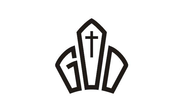 Deus jesus coroa igreja design de logotipo