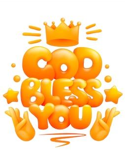 Deus te abençoe cartaz com as mãos em gesto de oração. estilo 3d de desenho animado.