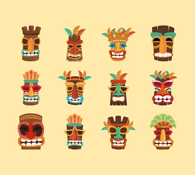 Deus tiki, escultura africana tradicional de madeira, ilustração de ícones