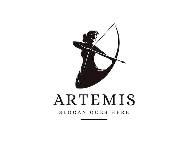 Deusa de artemis logotipo ícone ilustração vector, logotipo de arqueiro