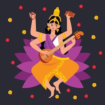 Deusa saraswati e pontos coloridos