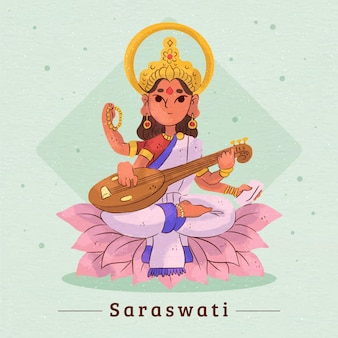 Deusa saraswati tocando instrumento musical