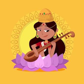 Deusa saraswati tocando um instrumento