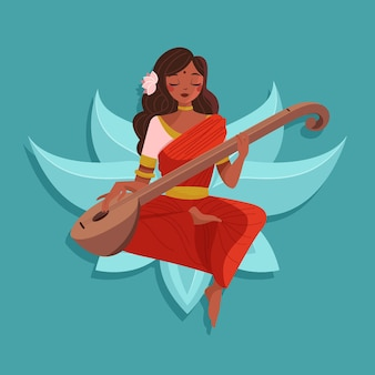 Deusa tocando o instrumento musical feliz saraswati