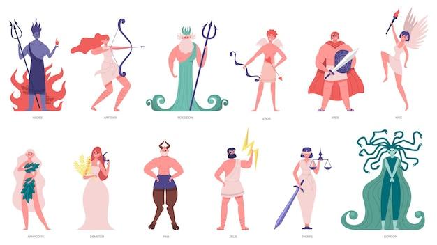 Deuses e deusa gregos. deuses e heróis dos desenhos animados olímpicos, poseidon, hades, zeus e hermes