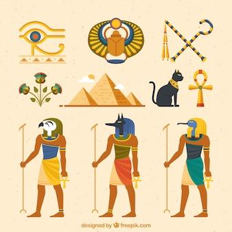 Deuses egípcios e coleção de símbolos com design plano