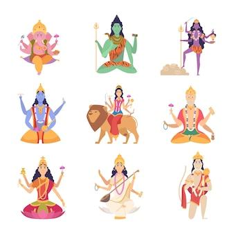 Deuses personagens indianos. mascotes de fantasia da cultura indiana vishnu ganesha lakshmi ilustrações vetoriais. índia espiritual, deus hindu, deusa meditando