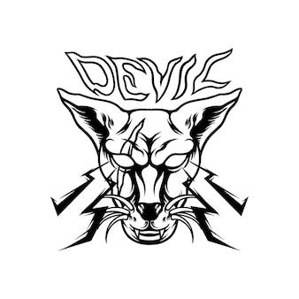 Devil cat mascot silhouette